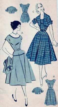 Inspiration: Drop waist dress!  Vintage 40s 50s Mail Order Dress & Jacket Sewing Pattern 2804 B30 12