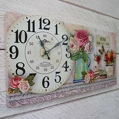 Shabby-Chic-De-Madera-Home-Sweet-Home-Reloj-De-Pared-En-Floral-Vintage-Box-Lona-Impresion