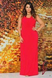 LOJA VIRTUAL PLUS SIZE www.tamanhosespeciais.com.br Vestido de Festa Longo Vermelho 48 50 52 54 moda feminina plus size