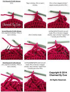 Crochet Celtic Weave Stitch In The Round - Tutorial ❥ 4U // hf http://www.pinterest.com/hilariafina/