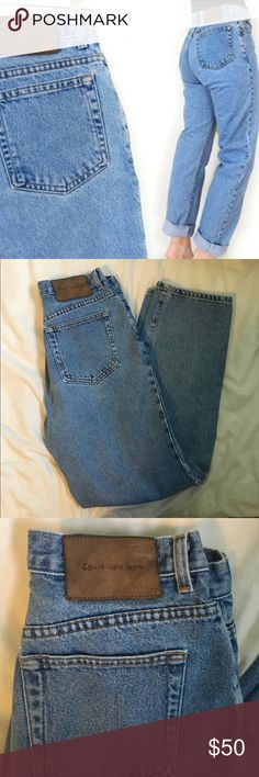 """Vintage Calvin Klein high waisted mom jeans Vintage Calvin Klein high waisted mom jeans size 27. Tag says size 8, not sure how true to size that is because vintage sizing runs small. Go by measurements. Lighter wash. Inseam 28"""". Hips 20"""" at widest part. ❗️PLEASE GO BY MEASUREMENTS. I am not responsible for jeans not fitting❗️ Calvin Klein Jeans"""