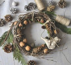 Christmas Decorations – christmas wreath, tilda bird – a unique product by ViolaSororia on DaWanda