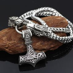 Beautiful Vikings king chain with mjolnir on sale!