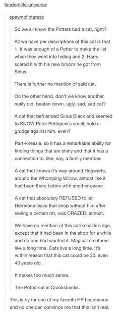 HOLY COW I LOVE THIS!! The potter's cat is crookshanks!!