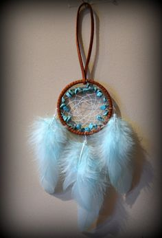 2'' Brown Dream Catcher with Turquoise by PicnicUnderTheStars