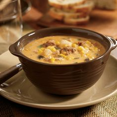 Throw all the ingredients into the slow-cooker at once, and it will make this kicked-up corn chowder for you. Plus, the smoky chorizo and the spicy poblano chilies make this soup especially delicious.This recipe comes courtesy of Swanson Broth, click here to see the original recipe