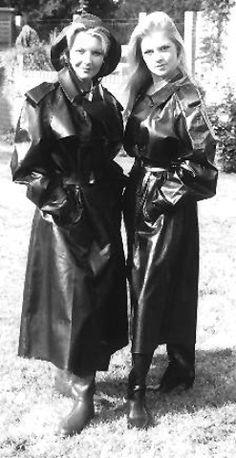 Vintage Shiny Black Rubber mackintoshes.