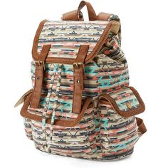 Mudd Braided Aztec Backpack (Brown) ($30) ❤ liked on Polyvore featuring bags, backpacks, brown, backpack bag, print backpacks, aztec print bag, rucksack bag and strap backpack