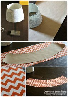 DIY Lamp Shade Makeover  I love chevron!  This looks relatively simple and I'm sure I could find a lamp shade at the ReStore. www.habitatgsf.org/restore