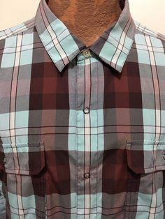 Patagonia Mens XL Brown Blue Plaid Snap-Front Long-Sleeve Western Cowboy Shirt #Patagonia #Western