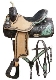 "15"", 16"" Double T barrel saddle set with teal filigree inlay. This saddle features dark chocolate, floral tooled leather with teal filigree print skirt inlay and cantle. Rough out fenders are accented"
