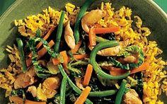 Kylling i grønt En fordansket version af Asiens mange wokretter.