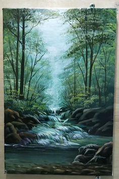 Watercolor Art Lessons, Watercolor Paintings, Landscape Paintings On Canvas, Green Paintings, Canvas Painting Tutorials, Diy Canvas Art, Art Painting Gallery, Acrylic Art, Landscape Art