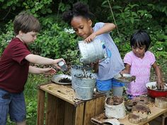 Mud season! Article by Mary Rivkin - great inspiration for mud kitchen play.