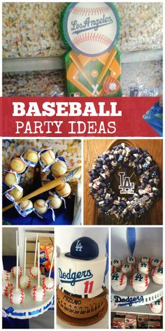 This party celebrates the Los Angeles Dodgers and baseball with two themed wreaths, baseball cake pops and more!  See more party ideas at CatchMyParty.com!