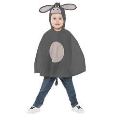 Ezel kostuum voor kinderen. Poncho voor kinderen in de kleur donkergrijs met ezel capuchon en een staartje. Carnavalskleding 2015 #carnaval
