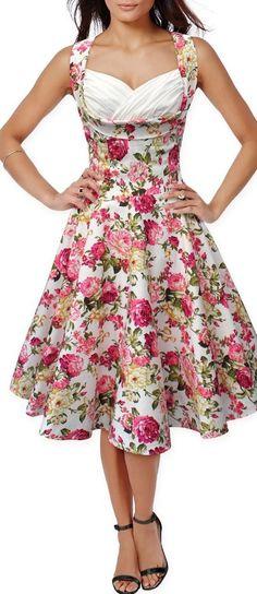 2017 Summer Vintage Florals Print Dress Bust Wrapped Vneck Tank Top Big Swing Dress Fit and Flare Dresses Clothes Vestidos Robe 50s Dresses, Spring Dresses, Pretty Dresses, Vintage Dresses, Dresses 2016, Floral Dresses, Tunic Dresses, Fitted Dresses, Dress Summer
