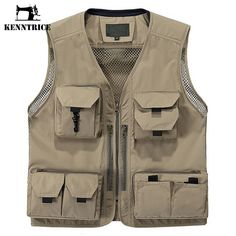 Multifunctional Waistcoat Men Green Khaki Vests Jacket Quick-Drying Loose Multi-Pocket Vest Many Pockets Outerwear