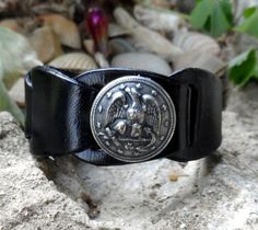 Upcycled/Recylced Mens Black Leather Eagle Bracelet by shaterra, $30.00