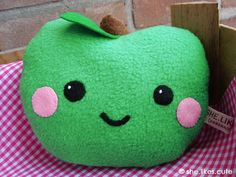 Apple softie by shelikescute on Etsy. via Etsy. Kawaii, Picnic Theme, Picnic Games, Cute Cushions, Cute Fruit, Co Design, Pebble Painting, Designer Toys, Pretty And Cute