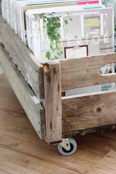 DIY for magazines: Old box and Ikea wheels. Fantastic IDEA
