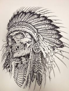 Tattoo sketches, tattoo drawings, indian tattoo design, tattoo indian, in. Tatto Skull, Indian Skull Tattoos, Skull Tattoo Design, Skull Art, Tattoo Designs, Tattoo Indian, Skull Design, Tattoo Sketches, Tattoo Drawings