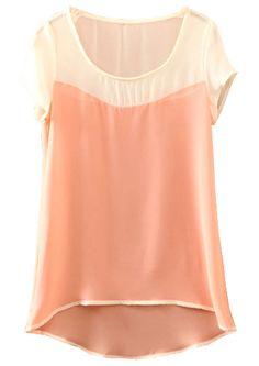Pink Batwing Short Sleeve Dipped Hem Chiffon Blouse - Sheinside.com