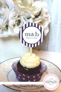 Custom Wedding Initial Cupcake Toppers    Everyone else is dressed up for the wedding...why not dress up the cupcakes too?! You choose color and