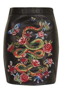 Snake Embroidered Mini Skirt