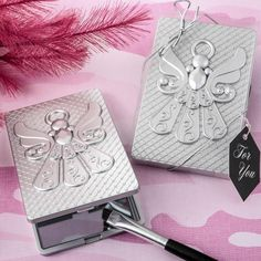 Angel Themed Silver Compact Mirror- Offer your guests the Love and Guidance of a Guardian Angel on a stylish compact mirror that they can carry with them on their journeys. This charming Angel themed compact has a hard molded plastic case with a silv Decoupage, Communion Favors, Silver Bow, Religious Gifts, Compact Mirror, Plastic Case, Diamond Shapes, Ornament, Blessed