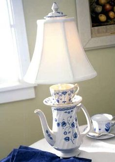 Repurposed Coffee Tea Pot with Saucer and Cup makes Lamp