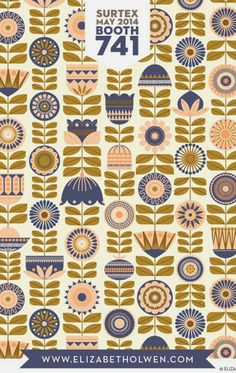 print & pattern: SURTEX 2014 - flyers part three Pretty Patterns, Beautiful Patterns, Color Patterns, Textile Patterns, Textile Design, Retro, Design Graphique, Pattern Illustration, Floral Illustrations