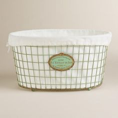 Mint Green Marcie Wire Laundry Basket at Cost Plus World Market >> #WorldMarket Laundry Organization Tips