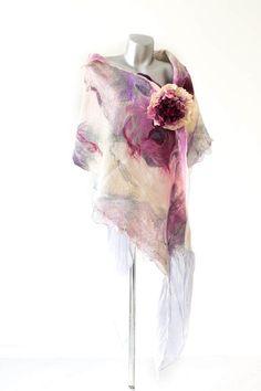 Felted purple scarf, fashion silk scarf, wool scarf, evening sharwl, art scarves, nuno felt wrap, Eco-friendly scarf, nunofelted scarf, si
