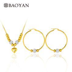 316L Edelstahl Gold Herz Anhänger Stahl Perlenkette Sets Große Bandohrring Modeschmuck Für Frauen Weihnachtsgeschenke