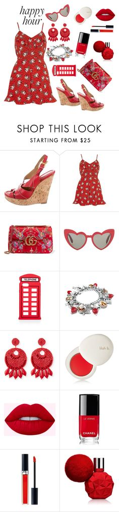 """""""Untitled #533"""" by siriusfunbysheila1954 ❤ liked on Polyvore featuring River Island, Gucci, Yves Saint Laurent, Lulu Guinness, Kenneth Jay Lane, lilah b., Chanel and Christian Dior"""
