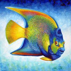 queen angel fish | Queen Angelfish Painting by Nancy Tilles - Queen Angelfish Fine Art ...