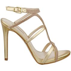 GUESS Adalee Metallic Strappy Heels ($84) ❤ liked on Polyvore featuring shoes, sandals, gold multi leather, sparkle shoes, guess sandals, strappy heel sandals, leather sandals and heels stilettos