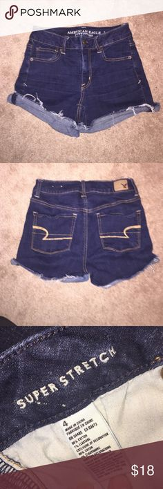 ‼️SALE‼️ Dark Wash AE Jean Shorts These are not faded and in great condition! Super comfortable and are the super stretch material. They are to about mid thigh. No trades, offers may be accepted if reasonable. American Eagle Outfitters Shorts Jean Shorts