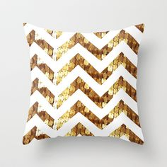 Gold Sequin Chevron Throw Pillow by elecat - $20.00