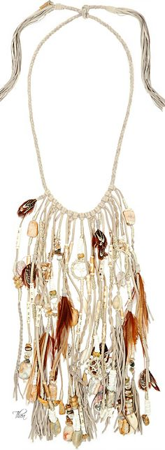 Safari Chic ● Etro Suede, bone, feather and bead necklace