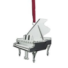 "3"""" Regal Shiny Silver-Plated and Black Grand Piano Ornament with European Crystals"