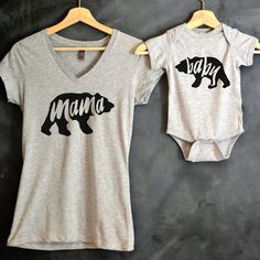 Mama Bear Baby Bear T-shirt Package Mama Bear V-Neck T-shirt Baby Bear Bodysuit Baby shower gift Mothers day gift USD) by HelloHandpressed Mama Baby, Mini Mundo, Shirt Packaging, Mommy And Me Shirt, Herren Outfit, Bear T Shirt, Baby Bodysuit, Baby Onesie, First Baby
