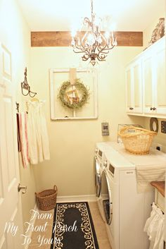 Same layout as ours... idea of cabinet height, and space. From My Front Porch To Yours: $100 Laundry Room Makeover