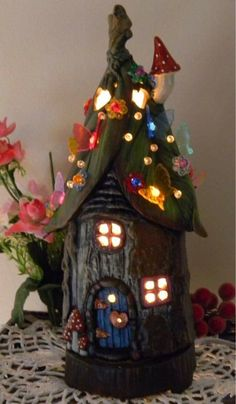 Fairy House Tree stump Leaf Roof Dream Home Night light Lamp butterfly daisy light Gnomes can live here center piece Fantasy birthday Clay Fairy House, Fairy Garden Houses, Gnome Garden, Clay Fairies, Flower Fairies, Clay Houses, Fairy Doors, Tree Stump, Miniature Fairy Gardens