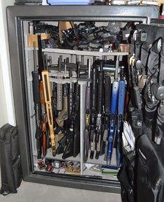 Safe has plenty of room for firearms and ammo. Zombie Weapons, Weapons Guns, Guns And Ammo, Military Weapons, Ammo Storage, Weapon Storage, Reloading Room, Hidden Gun, Ar Build