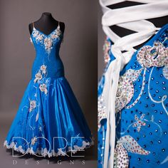 Electric Blue & White Standard w/ Silver Appliques, White Lace Trimmed Skirt, & Hand Painted Floral Design