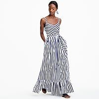 Striped ruffle maxi