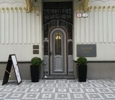 ...The entrance to hotel Tulip in Bratislava, Old town, Slovakia...