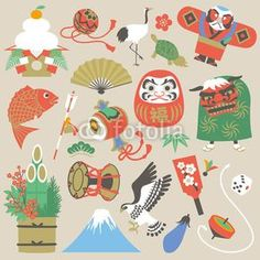 ベクター: 正月点 New Year Illustration, Japanese Illustration, Watercolor Illustration, Japanese Party, Japanese New Year, Japanese Patterns, Japanese Prints, Japanese Style, New Year Doodle